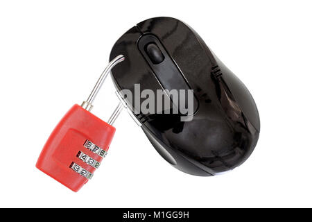 Image of a mouse mith a lock in front on white background with space for text - Stock Photo