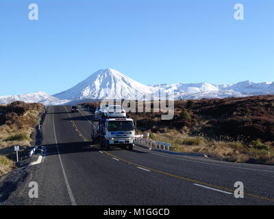 Tongariro National Park is on New Zealand's North Island. The park has 3 active volcanoes: Tongariro, Ngauruhoe - Stock Photo