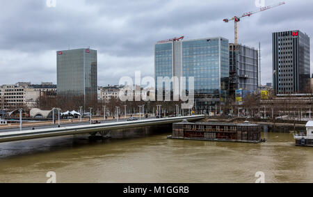 PARIS,FRANCE - January 29, 2018: Cityscape of Paris with the Seine River that rose significantly, increasing the - Stock Photo