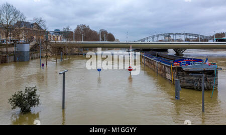 PARIS, FRANCE - January 29, 2018: The Seine River rises significantly, increasing the risk of flooding in Paris - Stock Photo