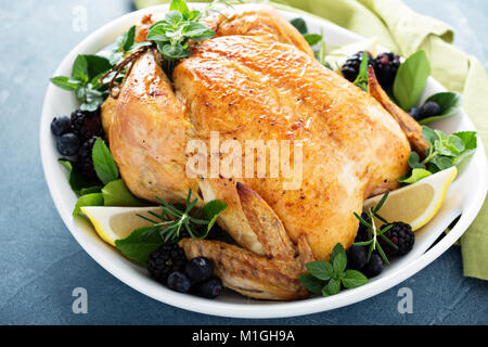 Roasted chicken with lemon and herbs for holiday or sunday dinner - Stock Photo