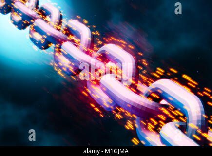 Blockchain data transfer link chain, abstract 3D illustration - Stock Photo