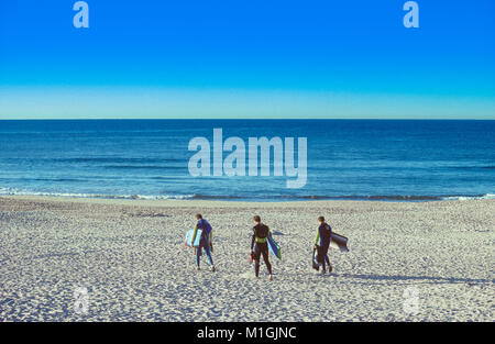 Boardriders walk along the sandy shore of Bondi Beach in Sydney, Australia, to catch some early morning waves. - Stock Photo
