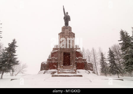 Lenin Monument in Kostroma, Russia in the winter along the Golden Circle. - Stock Photo