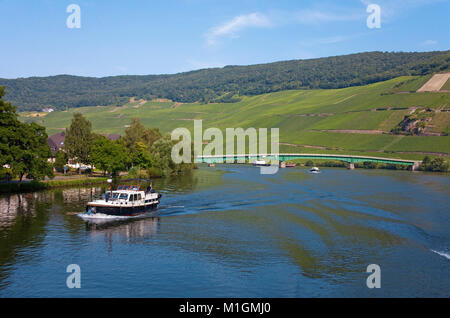 Cabin boat on Moselle river at Piesport, Moselle river, Rhineland-Palatinate, Germany, Europe - Stock Photo