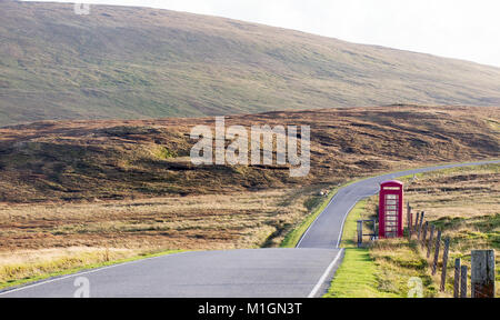 A remote red telephone box in Mainland, Shetland, Scotland, UK. - Stock Photo