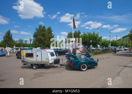 Honda Goldwing with side car pills a mobilhome, Moselle village Schweich, Moselle river, Rhineland-Palatinate, Germany, - Stock Photo