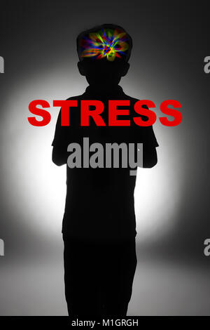 child suffering from stress, post traumatic stress disorder (PTSD) - Stock Photo