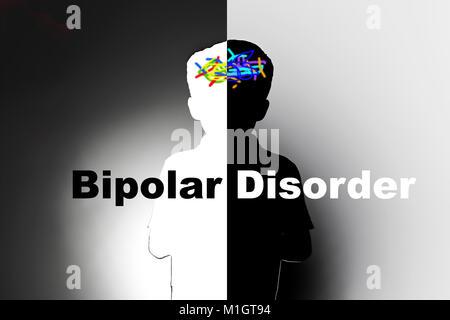 bipolar disorder, safeguarding children with mental illness - Stock Photo