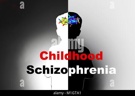 childhood schizophrenia, safeguarding children and social care, mental illness - Stock Photo