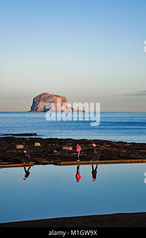 North Berwick beach on a winter's afternoon with Bass Rock in background, East Lothian, Scotland, UK - Stock Photo