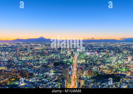 Aerial Cityscape View Tokyo Japan - Stock Photo