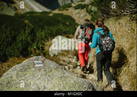 Hikers hiking in mountains on a bright sunny day. - Stock Photo