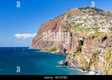 madeira portugal madeira view towards Cabo Girao one of the world's highest sea cliffs from Camara de lobos south - Stock Photo