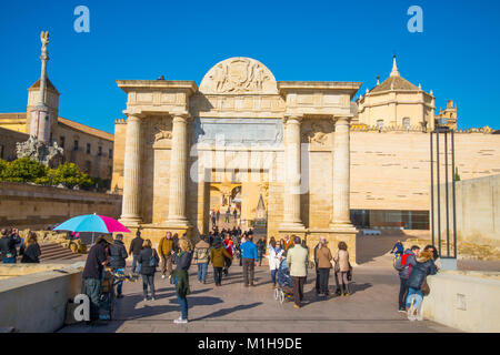 Bridge Gate.Triunfo Square, Cordoba, Spain. - Stock Photo
