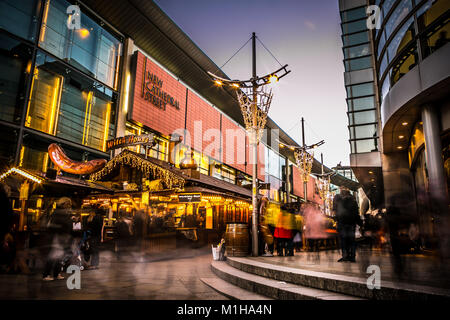 12th November 2017, Christmas German Markets outside New Cathedral Street, Manchester UK. - Stock Photo