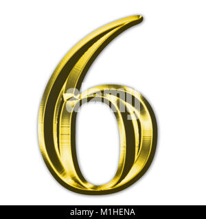 Rendering of a gold beveled numeral - Stock Photo