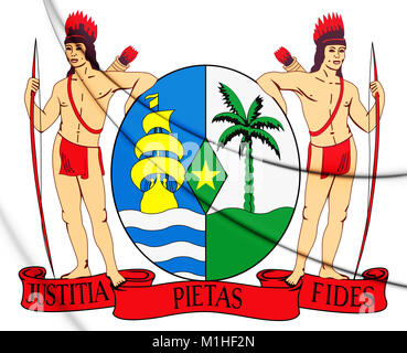 3D Suriname coat of arms. 3D Illustration. - Stock Photo