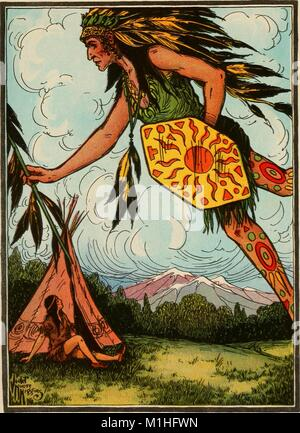 Color illustration, depicting a spirit brave appearing before a young boy, entitled 'The Next Day the Young Brave - Stock Photo