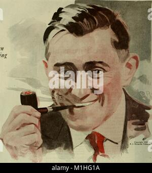 Color illustration advertising RJ Reynold's Tobacco Company brand product, Prince Albert Pipe Tobacco, showing a - Stock Photo