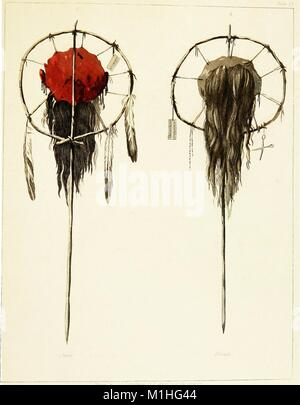 Color illustration of two scalps mounted on staked poles, one with red, skin-side facing forward, three feathers - Stock Photo