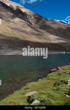 Tranquill waters of Chandra Taal - Stock Photo