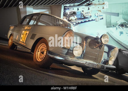 STUTTGART, GERMANY-APRIL 7, 2017: 1963 Mercedes-Benz 300 SE (W112) Rally Car in the Mercedes Museum. - Stock Photo