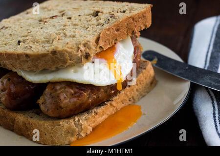 Sausage & Egg Sandwich - Stock Photo
