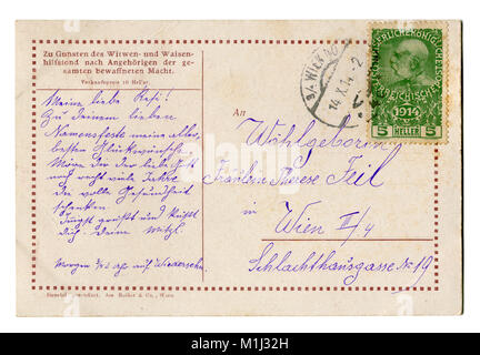 Back of Old Austrian world war one postcard with stamp (M1J33G) letter of a soldier,  written in purple ink, 1914, - Stock Photo