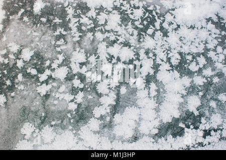 Abstract ice pattern on winter glass white - Stock Photo