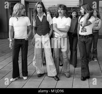 STOCKHOLM,SWEDEN,08-29-1975:STATUS QUO,rock n roll musicians Andy Bown,Francis Rosi,Alan Lancaster och John Coghlar - Stock Photo