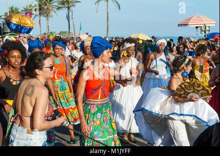 RIO DE JANEIRO - CIRCA FEBRUARY, 2017: Young Brazilians celebrate at a Carnival street party in Ipanema. - Stock Photo