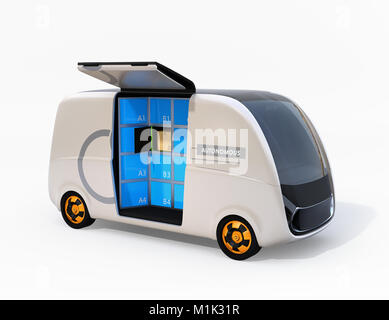 Self-driving delivery van isolated on white background with side door opened. Last one mile concept for logistics. - Stock Photo