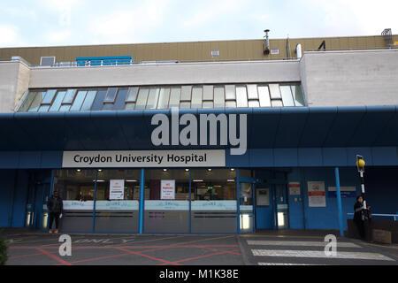 Croydon University Hospital Main Entrance - Stock Photo