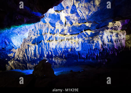Inside the large karst caves of Prometheus near Kutaisi in Georgia. - Stock Photo