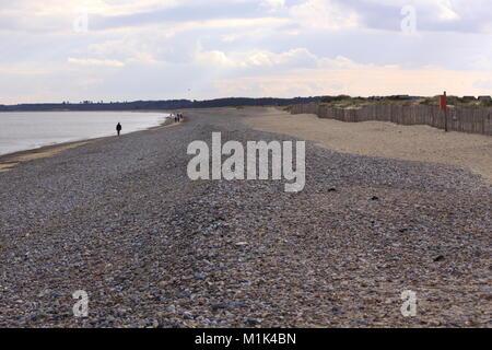 Pebble Beach with Sand Dunes, Aldeburgh, Suffolk, England - Stock Photo