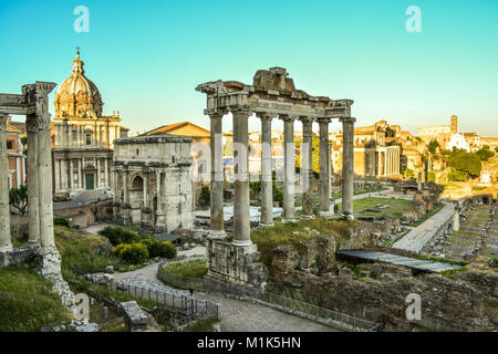 Foro Romano used to be the city center of the great Roman Empire in ancient times, Rome, Italy. Stock Photo