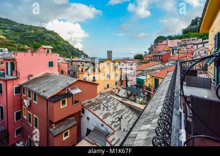 The colorful italian village of Monterosso al Mare, part of the Italian Riviera at Cinque Terre with the sea, town - Stock Photo