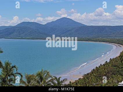 View over beautiful 4 Mile Beach from Flagstaff Hiil in Port Douglas Queensland, Australia - Stock Photo