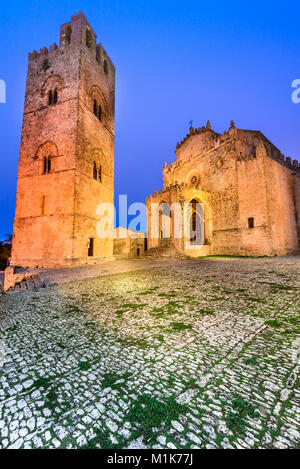Erice, Sicily. Duomo dell'Assunta or Chiesa Madre main church of medieval Erix, Italy.