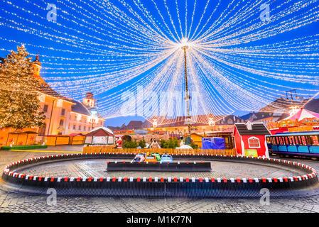 Sibiu Christmas Market winter tale, largest in Romania, Transylvania landmark. - Stock Photo
