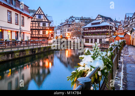 christmas market at dusk petite france little france strasbourg stock photo royalty free. Black Bedroom Furniture Sets. Home Design Ideas