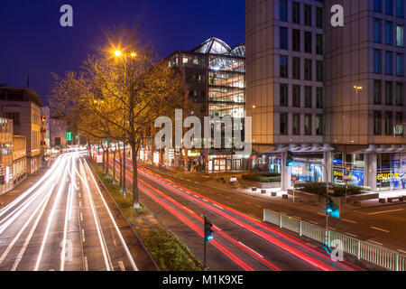Germany, Cologne, the street Nord-Sued-Fahrt in the city, at right the WDR Arcade and the building Vierscheibenhaus - Stock Photo