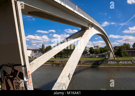 Germany, Cologne, pedestrian bridge at the harbor in the district Muelheim.  Deutschland, Koeln, Fussgaengerbruecke - Stock Photo