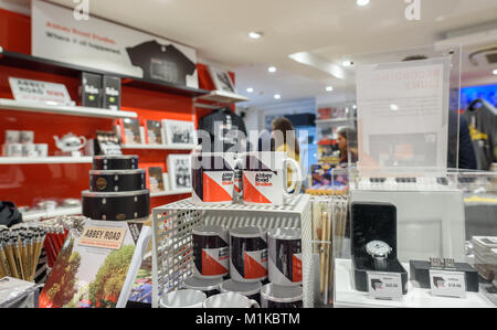 The Abbey Road shop selling various music related gifts, including Beatles related memorabilia. - Stock Photo