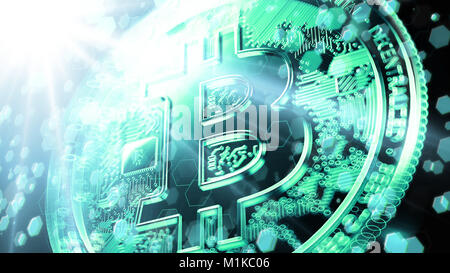 Blurry closeup on Bitcoin sign bathed in bright fluorescent light with blockchain nodes floating around. Bitcoin - Stock Photo