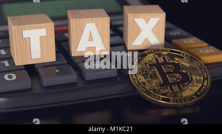 Bitcoin against calculator and wooden blocks with TAX letters on it. Taxes on bitcoin investments concept. 3D rendering - Stock Photo