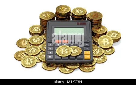 Calculator and huge stack or pile of Bitcoin coins. Tax calculation concept. Copy space available in calculator - Stock Photo