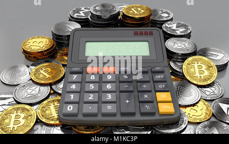 Huge stack or pile of cryptocurrency coins and a calculator. Tax calculation concept. 3D rendering - Stock Photo
