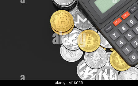 Calculator laying on Bitcoin and altcoins. Copy space on the left. Tax calculation concept. 3D rendering - Stock Photo